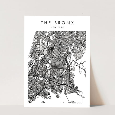 The Bronx New York Minimal Modern Street Map Print