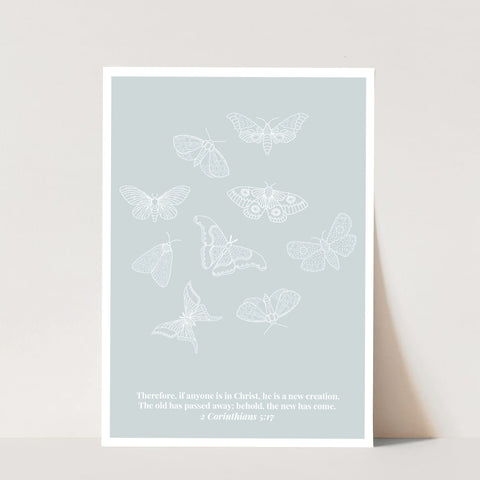 2 Corinthians 5:17 He Is A New Creation Butterfly Line Art Sketch Blue Print