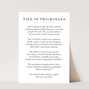 Tale of Two Wolves Print