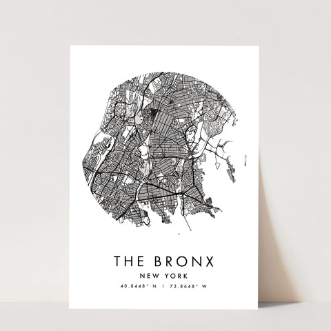 The Bronx New York Minimal Modern Circle Street Map Print