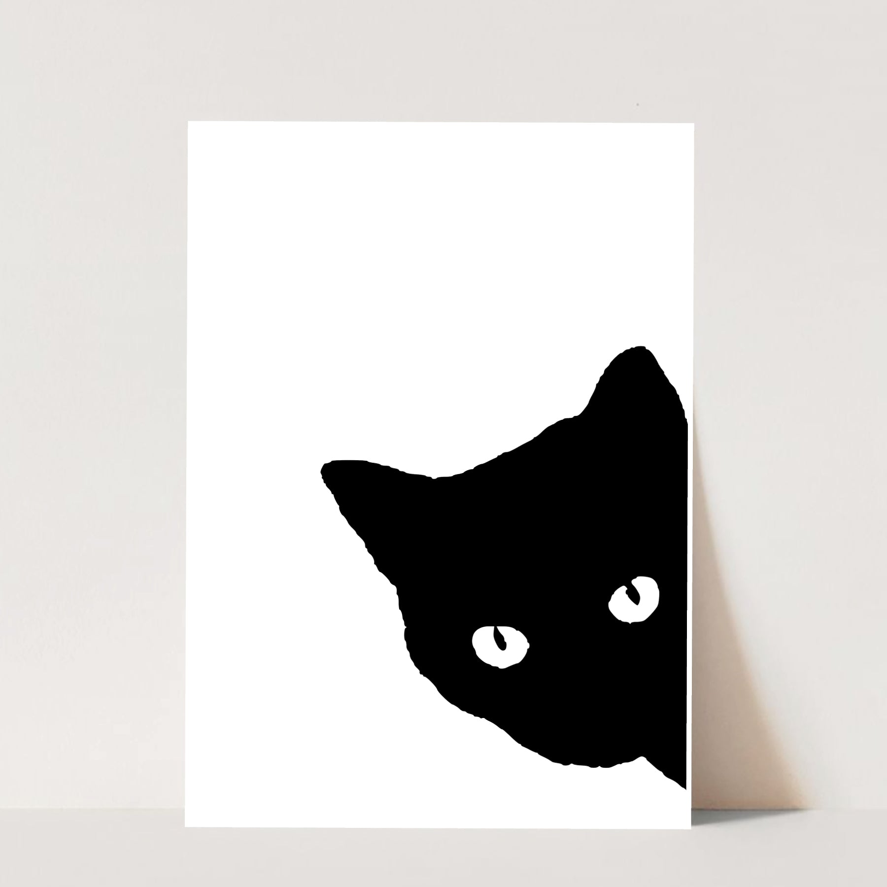 Black and White Cat Side View Print