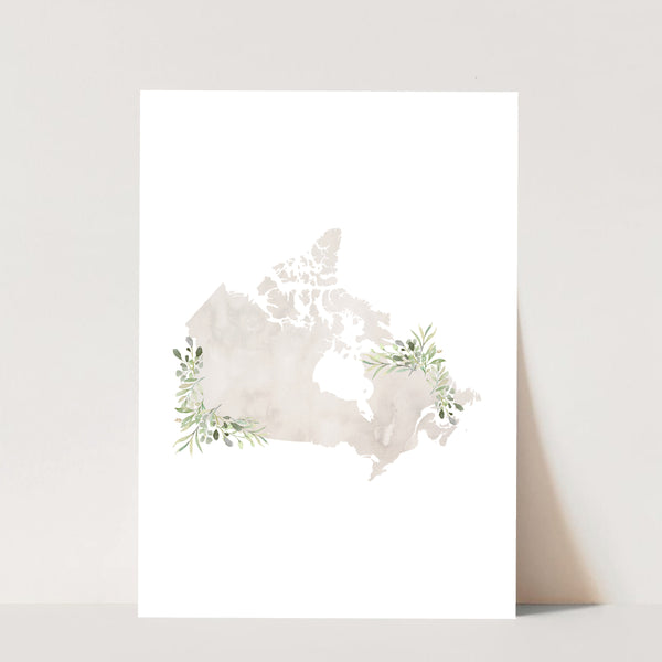 Watercolor Canada with Leaves Print