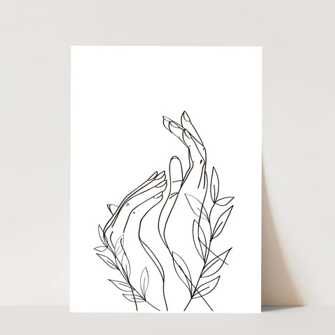 Hands with Leaves Line Art Print