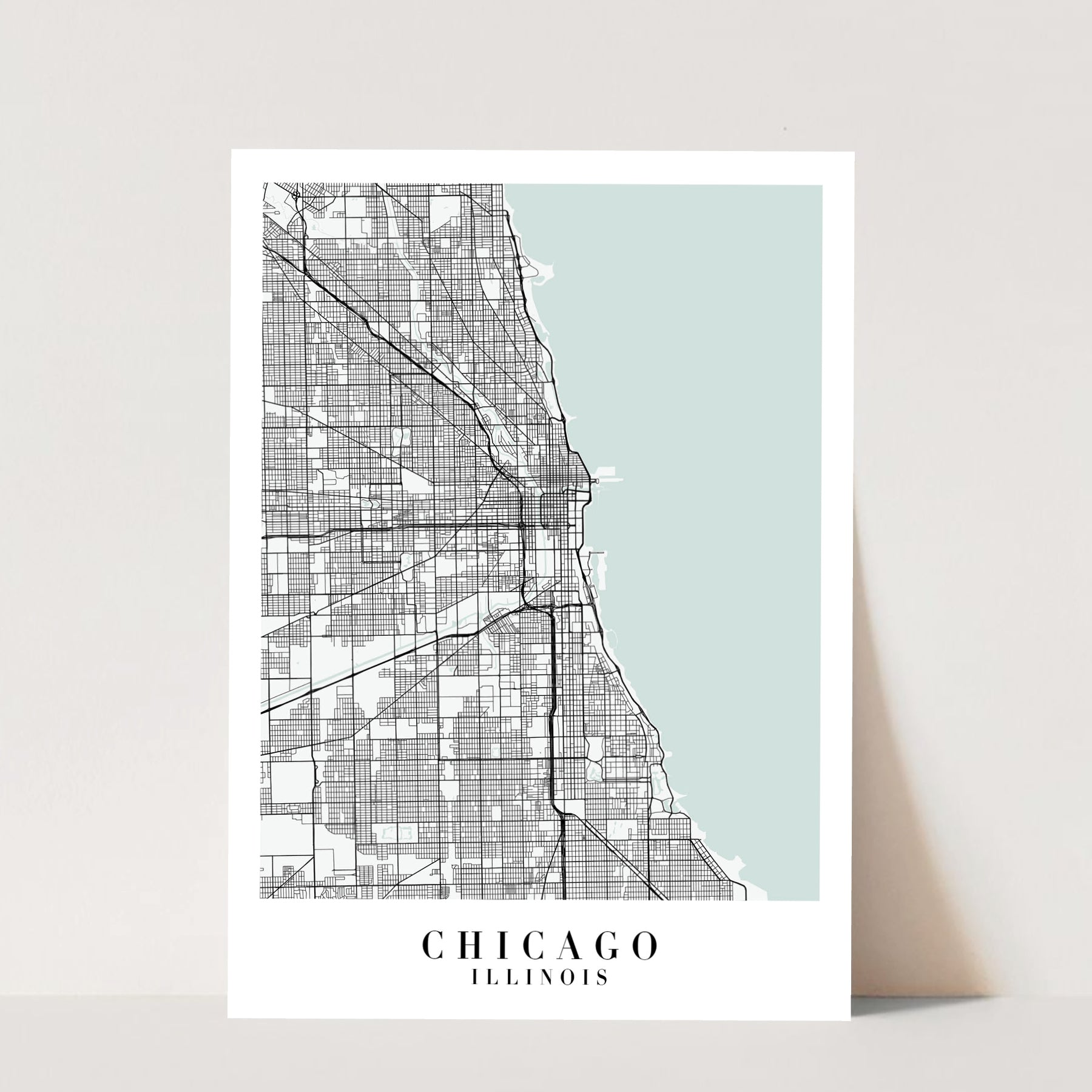 Chicago Illinois Blue Water Street Map Print