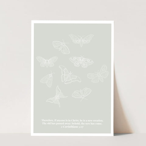 2 Corinthians 5:17 He Is A New Creation Butterfly Line Art Sketch Green Print