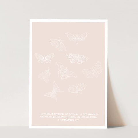 2 Corinthians 5:17 He Is A New Creation Butterfly Line Art Sketch Tan Print