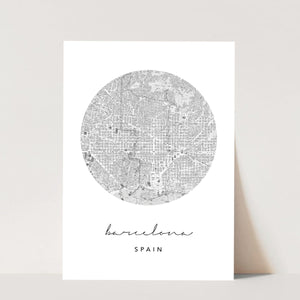 Barcelona Circle Map Print