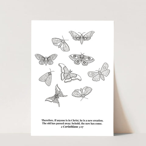 2 Corinthians 5:17 He Is A New Creation Butterfly Line Art Sketch Print