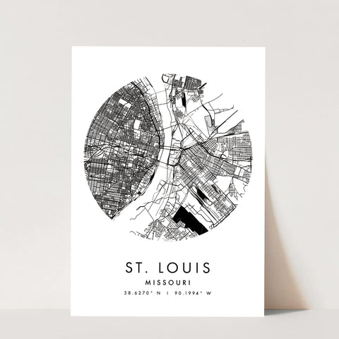 St Louis Missouri Minimal Modern Circle Street Map Print