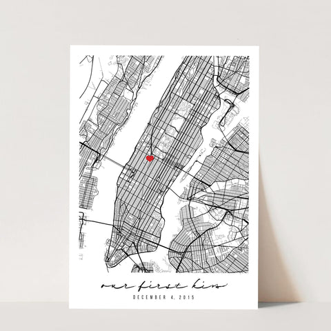 Custom Minimal Black and White Map with Special Occasion Heart Personalized Print