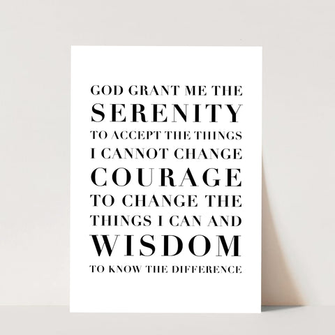 The Serenity Prayer Capitalized Print