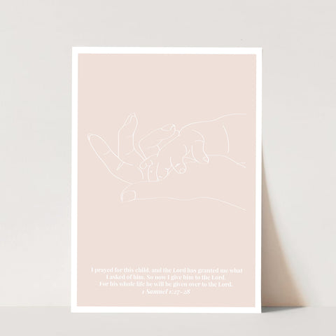 1 Samuel 1:27-28 For This Child Line Art Sketch Tan Print