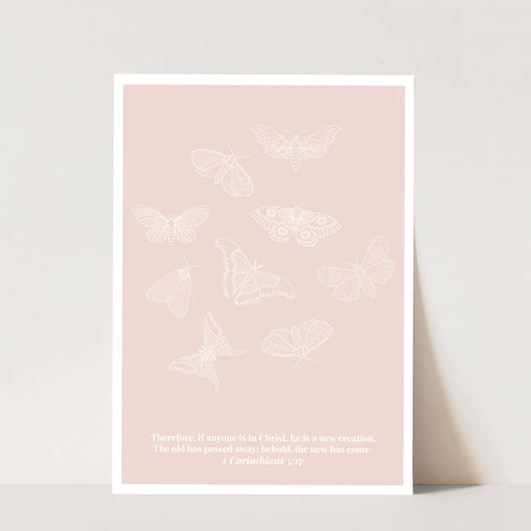 2 Corinthians 5:17 He Is A New Creation Butterfly Line Art Sketch Peach Print