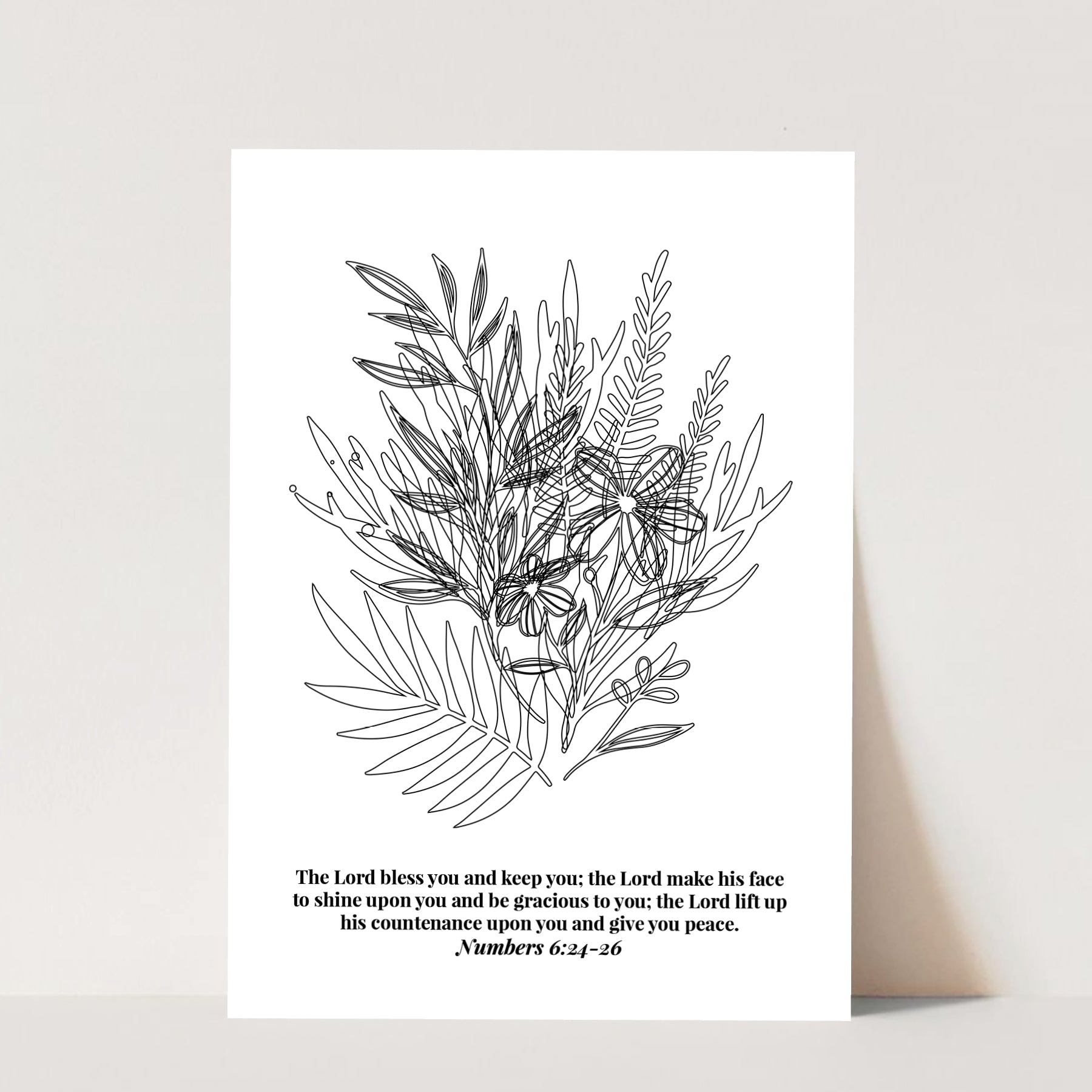 The Lord Bless You and Keep You... -Numbers 6:24-26 Line Art Sketch Print