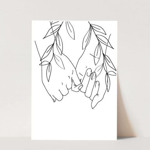 Pinky Promise Line Art with Leaves Print