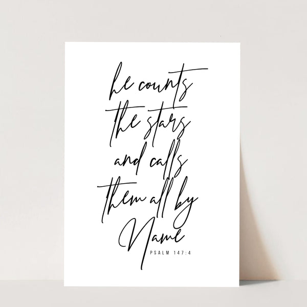 He Counts the Stars and Calls Them All By Name. -Psalm 147:4 Print