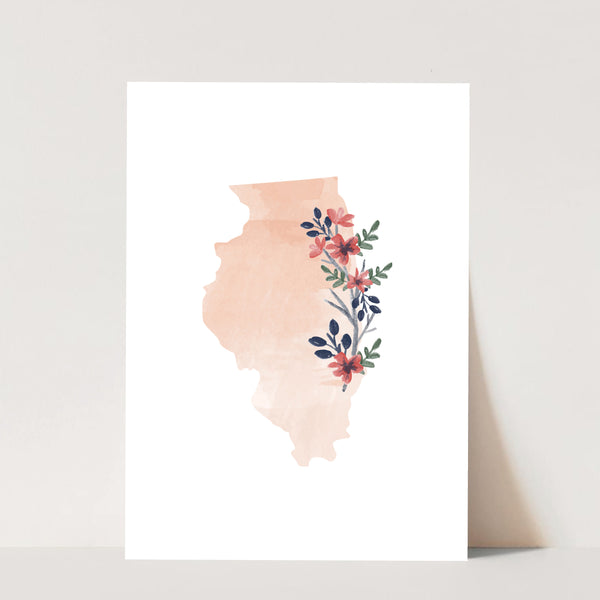 Watercolor Floral Illinois Print