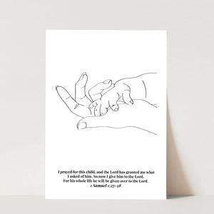 1 Samuel 1:27-28 For This Child Line Art Sketch Black and White Print