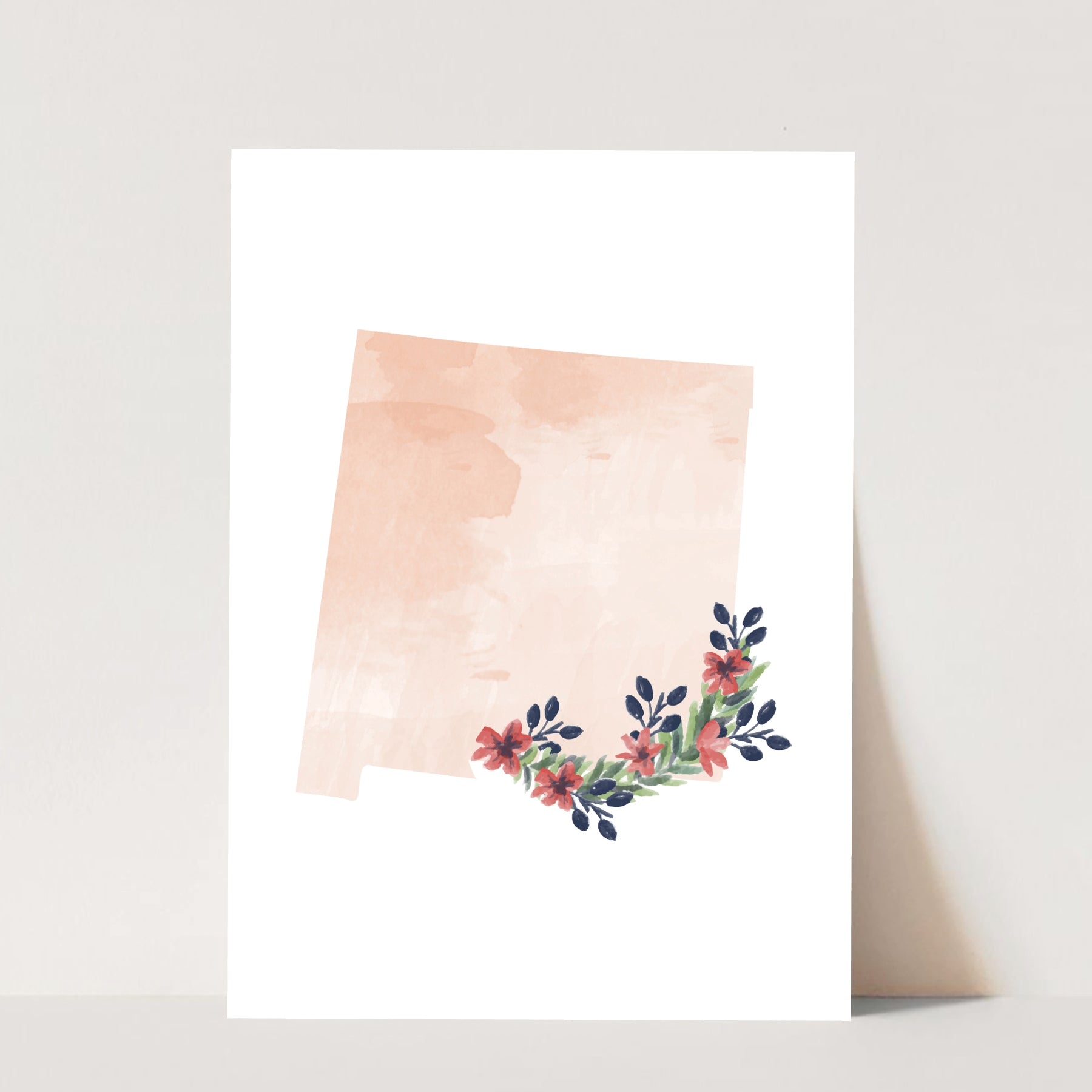 Watercolor Floral New Mexico Print