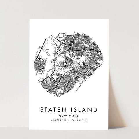 Staten Island New York Minimal Modern Circle Street Map Print