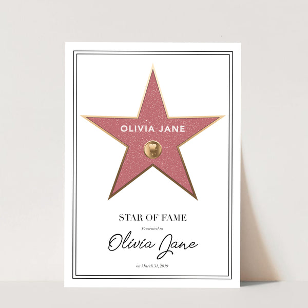 Walk of Fame White Background Print