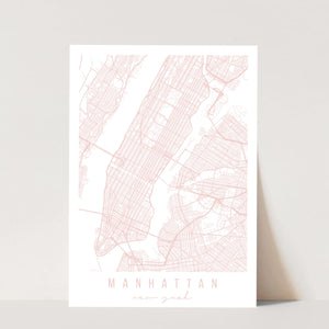 Manhattan New York Light Pink Minimal Street Map Print