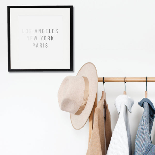 Los Angeles New York Paris Foiled Art Print