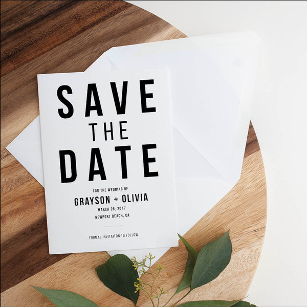 Bold Caps Wedding Save the Dates
