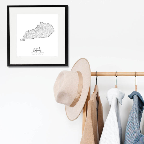 Kentucky Minimal Street Map Print