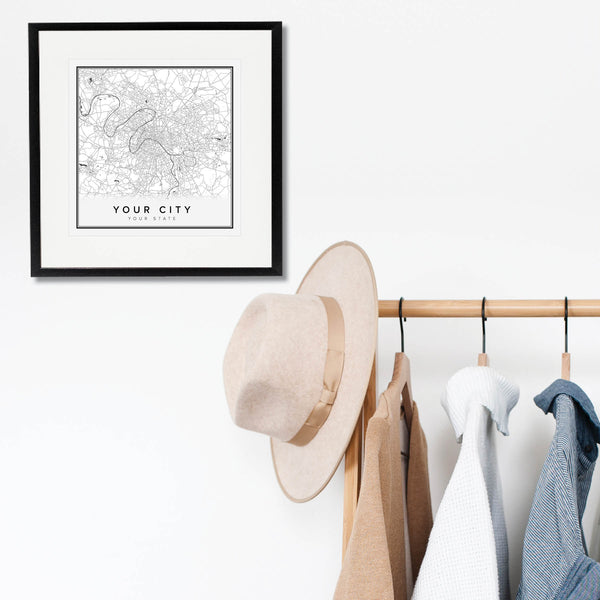 Custom City and State Street Map Print