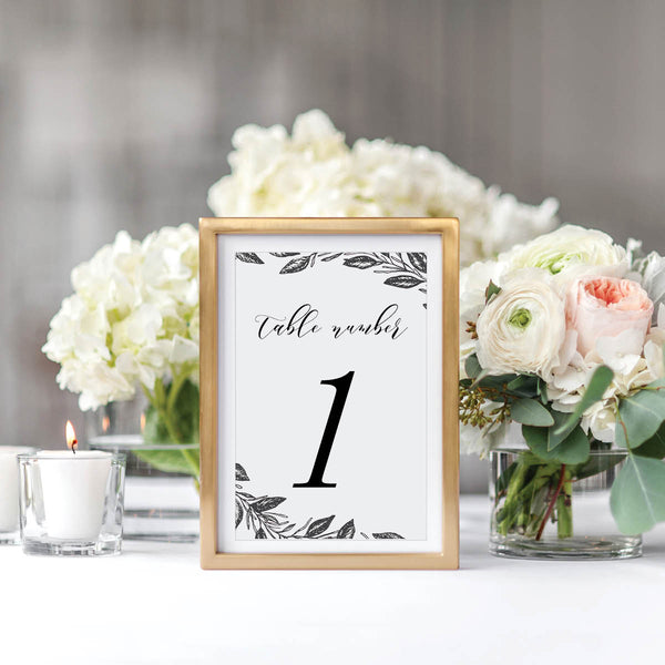 Black and White Floral Wedding Table Number Cards