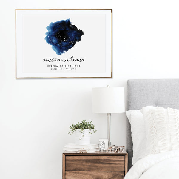 Custom Dark Blue Watercolor Star Map Print