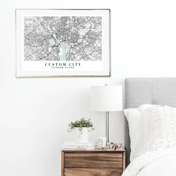 Custom Blue Water Street Map Print