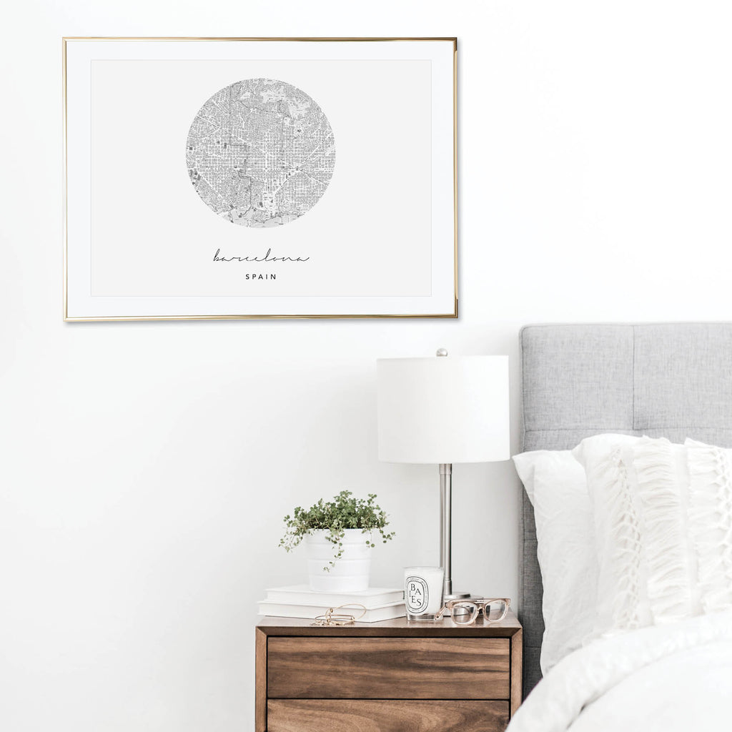 Barcelona Circle Map Print - Typologie Paper Co
