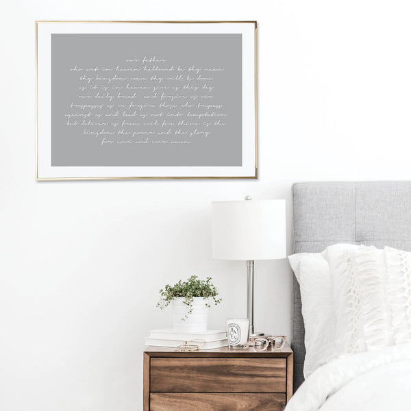 Our Father Who Art In Heaven Gray Script Print
