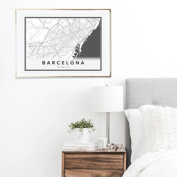 Barcelona Spain Street Map Print - Typologie Paper Co