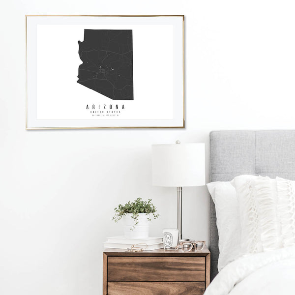 Arizona Mono Black and White Modern Minimal Street Map Print