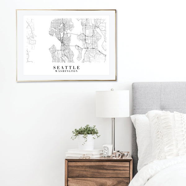 Seattle Washington Street Map Minimal Print