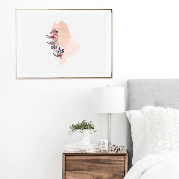 Watercolor Floral Maine Print