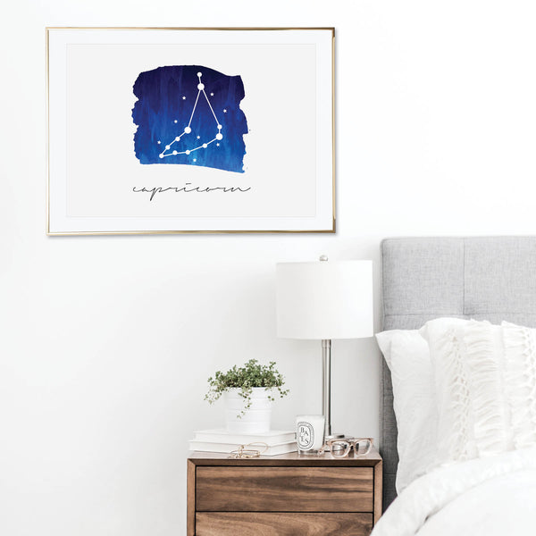 Capricorn Zodiac Watercolor Print