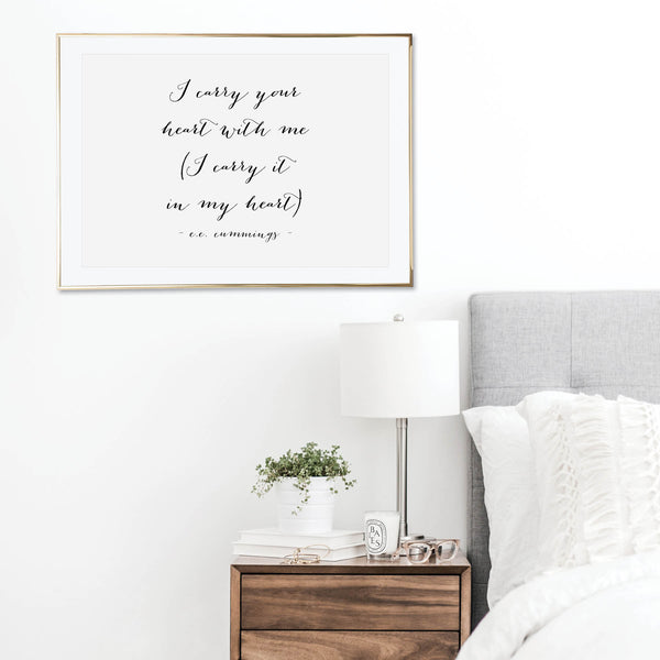I Carry Your Heart with Me. I Carry It In My Heart. -E.E. Cummings Quote Script Print