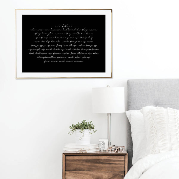 Our Father Who Art In Heaven Black Script Print