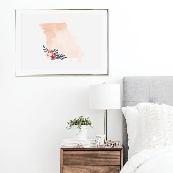 Watercolor Floral Missouri Print
