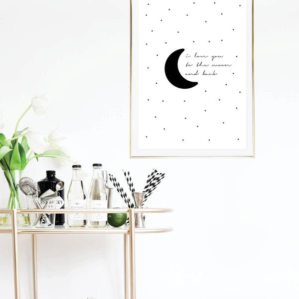 I Love You to the Moon and Back Starry Print