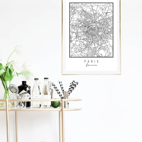 Paris France Street Map Black and White Print