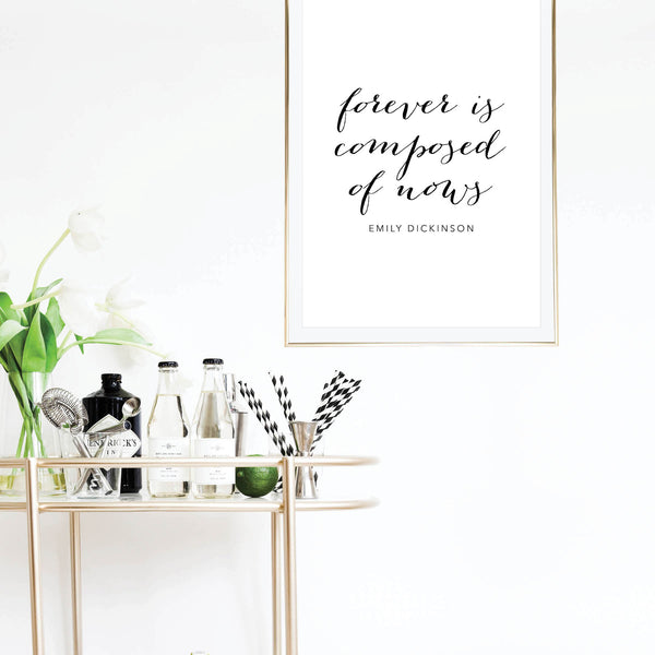 Forever Is Composed of Nows. -Emily Dickinson Quote Script Print