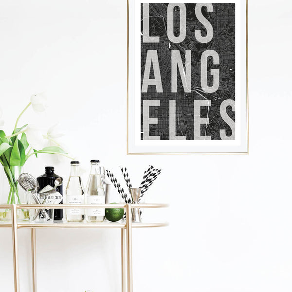 Los Angeles Mono Street Map Text Overlay Print