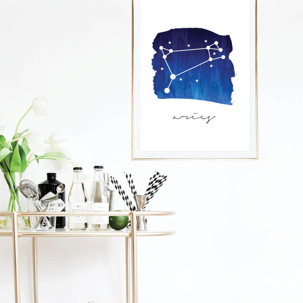 Aries Zodiac Watercolor Print - Typologie Paper Co