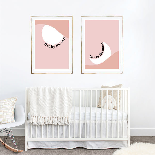 Bedroom Live by the Sun / Love by the Moon Pink and White Print Set