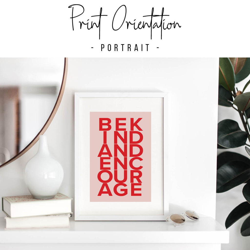 Be Kind and Encourage Pink and Red Print - Typologie Paper Co